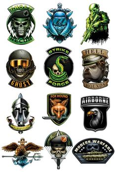 Tactical Temporary Tattoos for Your Covert Operations Here is a series for all you hardcore military gamers out there. These prestige temporary tattoos will keep you styling while you are out punishin 12 Tattoos, Mini Tattoos, Temporary Tattoos, Sleeve Tattoos, Black Ops, Tattoo Caveira, Badges, Arte Robot, Airsoft Helmet