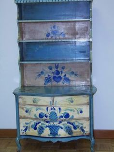 folk art painted furniture   Painted Folk Art Cabinet By Provincetown, Ma (cape Cod) Artist Peter ...