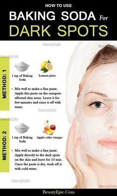 How To Remove Dark Spots With Baking Powder Naturally Plastische Chirurgie Brown Spots On Face, Dark Spots On Skin, Facial Brown Spots, Lighten Dark Spots, Skin Tips, Skin Care Tips, Diy Skin Care, Beauty Care, Beauty Skin