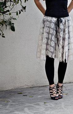DIY Clothes Refashion: DIY Lace Ballet Skirt DIY Clothes DIY Refashion. This look is super cute