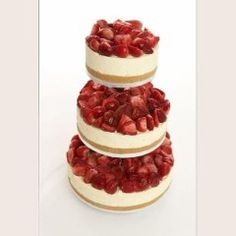 3 Tier Strawberry Vanilla Cheesecake, the english cheesecake company - love this idea for wedding cake and dessert combined! Unusual Wedding Cakes, Cool Wedding Cakes, Wedding Donuts, Wedding Strawberries, Strawberries And Cream, Strawberry Wedding Cakes, Strawberry Champagne, Beautiful Cakes, Gastronomia