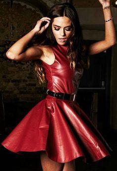 Red sleeveless bandage dress beautiful,i like it Red Leather Dress, Leather Corset, Leather Dresses, Leather Fabric, Black Leather, Sexy Latex, Sexy Outfits, Fashion Outfits, Womens Fashion