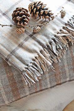beige & gray plaid blankets