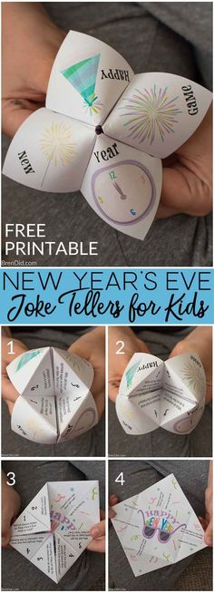 Free printable New Years Eve joke tellers New Years Eve party winter party free printable New Years Eve jokes for kids cootie catcher fortune teller New Year's Eve Crafts, Holiday Crafts, Holiday Fun, Crafts For Kids, New Year's Eve Jokes, New Year Jokes, New Years Eve Games, Kids New Years Eve, New Years With Kids