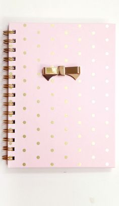 FOR SALE | Pink & Gold Diary Journal Notebook Gold Polka Dots Spiral Bound Metal Bow School Supplies Desk Office