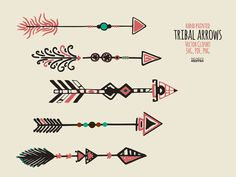 SVG Arrows 45 Tribal Arrows Curved Hand Painted by NentraDesigns