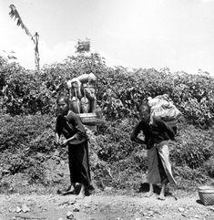 Vrouwen met draagmanden op de weg Salatiga-Solo, Midden Java 1900-1940 (globaal)