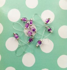 Snag Free Knitting Stitch Markers 10 Pack  GRAPE PIPS by rosyretro, £2.65