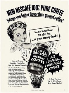 Nescafe Instant Coffee ad, 1954. #vintage #1950s #food #ads by lindsay0