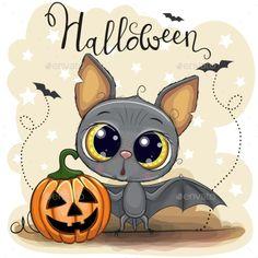 Cute Cartoon Bat with pumpkin. Greeting Halloween Card Cute Cartoon Bat with pumpkin stock illustration Halloween Cartoons, Cute Halloween Drawings, Image Halloween, Halloween Rocks, Halloween Clipart, Halloween Painting, Halloween Pictures, Cute Drawings, Halloween Crafts