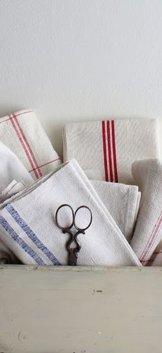 Along with paper towels...I can't live without these handy and beautiful tea towels.
