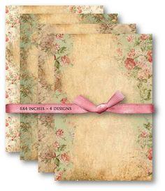 662-Vintage Floral Texture - Digital Collage Sheet Download Scrapbooking Supplies - Digital collage sheets, Vintage Clipart, Scrapbooking Supplies, Mixed Media | Vintage-Papers.com