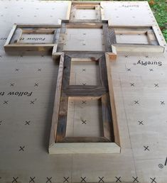 Reclaimed wood cross picture frame. Has 1- 8x10 5- 5x7, natural wood $69.99 painted or stained $79.99