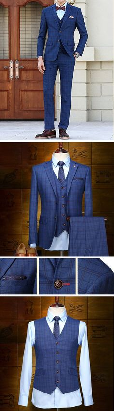 US$135.88 (46% OFF) Plus Size Blue Wedding Formal Three Pieces British Style Slim Blazers for Men