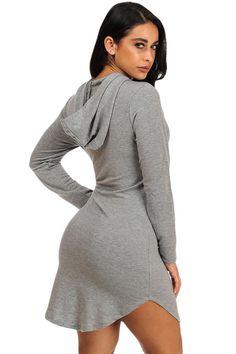 041f6738f0c Grey Hoodie Mini Dress - Front Pocket