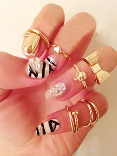 7PCS Of Chic Style Heart & Bowknot & Skull & Round & Nail Shape Knuckle Rings | DressLily.com