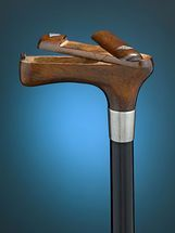 This extraordinarily rare walking cane features a snuff box of beautifully carved mahogany built into its handle. Boasting a double cover, the handsome handle is joined to the cane's shaft by a sleek metal handle. Hand Carved Walking Sticks, Walking Sticks And Canes, Wooden Walking Sticks, Walking Canes, Power Carving Tools, Cane Handles, Wooden Canes, Cane Stick, Got Wood