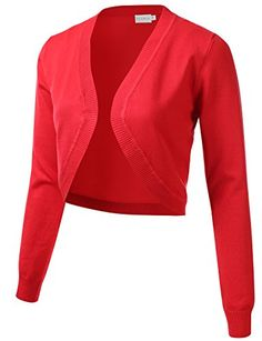 Womens Cropped Open Front Bolero Shrug Long Sleeve Knit Cardigan (S-XL)