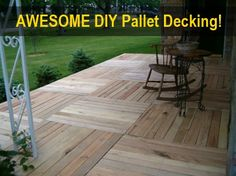 Awesome Free DIY Wood Pallet Decking Even the framework is made from pallets! It's only the screws/nails used to fix it together that actually cost anything... I love it! Check out the finished photos...