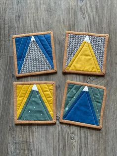 DIY Fabric Coaster - mountains from Quilter's Candy Fabric Coasters, Diy Coasters, Fall Sewing Projects, How To Make Coasters, Mini Quilts, Quilt Top, Fabric Scraps, Quilt Blocks, Candy