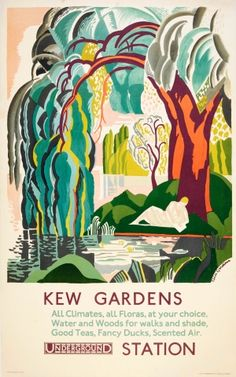 LT Kew Gardens Gardiner Art Deco London Undeground 1927 - original vintage poster by Clive Gardiner listed on AntikBar.co.uk
