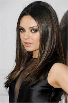 Mila Kunis Hair Color And Style Hair Brown Hair Colors Sleek Hairstyles, Party Hairstyles, Straight Hairstyles, Gorgeous Hairstyles, Creative Hairstyles, Cabelo Mila Kunis, Mila Kunis Hair Color, Long Layered Hair, Brown Hair Colors