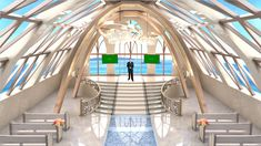 The vaulted church ceiling is decorated with pure white decoration, setting off the pure happiness of the newcomer. 180 degree view of the blue sky and sea, elegant staircase and chande Virtual Studio, Stage Set Design, White Decor, Scenery, Stairs, Entertainment, Wedding, Ladders, Mariage