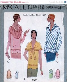 Vintage 1920's McCALL Pattern 5803 - Exquisite Art Deco Style Flapper Evening Cocktail Blouses  -- Bust 34