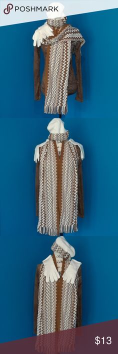 🌼🌼Cream and Brown Scarf, Knit Cap and Glove Set Matching set of winter outer wear with very pretty zig zag design over cream  color. NWOT  You will be the first to wear these and they will look great with your favorite brown leather jacket!  Marked as One Size Fits All Accessories