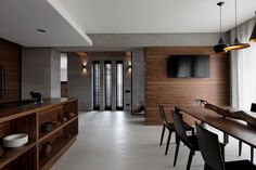 """Located in Dnipropetrovs'k, Ukraine and completed in This 200 square meter large modern house was designed by NOTT Design. Nott Design Studio """"The large Kitchen Interior, Modern Interior, Interior Architecture, Interior And Exterior, Interior Design, Loft, House And Home Magazine, Dining Area, Home And Family"""