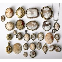 Collection of cameos. This would look great in a frame as art in a bedroom or closet (near where other jewelry is stored). I'm not a fan of a lot of the public display/storage options because the jewelry looks too cluttered to me, but this is an exception.