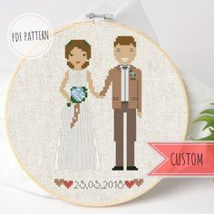 his is a pdf cross stitch pattern which I gladly can make to order from your photo. Looking for an interesting gift for your wedding anniversary? Keep the moment or your best memories with such little personalized cross stitch portrait! Wedding Cross Stitch Patterns, Modern Cross Stitch Patterns, Counted Cross Stitch Patterns, Cross Stitch Designs, 2nd Anniversary Gifts, Wedding Anniversary, Silver Anniversary, Cross Stitch Family, Custom Wedding Gifts