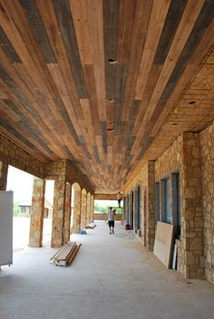 Distressed Rustic Outdoor Wood Plank Ceiling