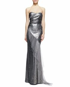 Strapless Sequined Ruffled Gown by Donna Karan at Neiman Marcus.