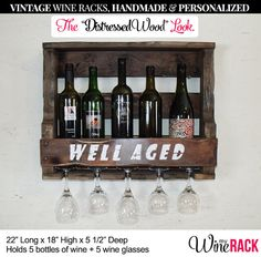 "Pallet Wine Rack - Distressed & Rustic Look With Quote, ""well Aged"" Holds 5…"