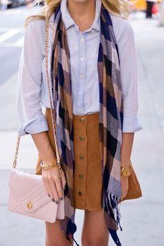 Button down mini + plaid scarf.
