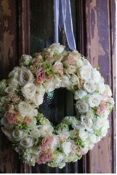 Lovely Rose Wreath/ all white roses with just a few pink
