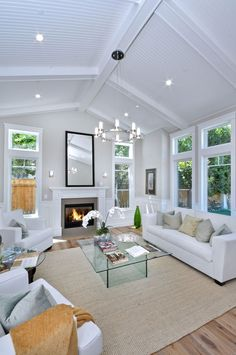 Living Room Windows, Living Spaces, Living Room Vaulted Ceiling, Living Rooms, Vaulted Ceiling Lighting, Dark Ceiling, Bedroom Ceiling, Vaulted Ceilings, Family Rooms