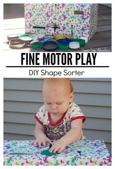 FIne Motor Play for Babies with a simple DIY Recycled Shape Sorter #babyplay