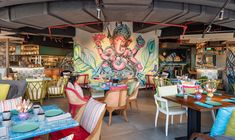 LW Design creates eclectic interiors for new Indian street food restaurant in Dubai - Projects, LW Design, Restaurants - CID Restaurant Indian, Eclectic Restaurant, Restaurant Bar, Eclectic Cafe, Indian Interior Design, Coffee Shop Interior Design, Restaurant Interior Design, Indian Cafe, Indian Street Food