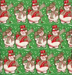snowmen by xtinalamb, via Flickr Christmas Scrapbook Paper, Vintage Christmas Wrapping Paper, Vintage Christmas Images, Christmas Gift Wrapping, Christmas Paper, Retro Christmas, Christmas Love, Christmas Pictures, Christmas Crafts