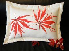 Painted pillow Japanese Maple lumbar wedding by crabbychris, $38.00