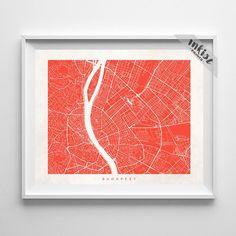 Budapest Street Map Print