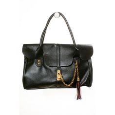#Black #satchel with #Gold #chain #hook Shop@authoritygirl.com