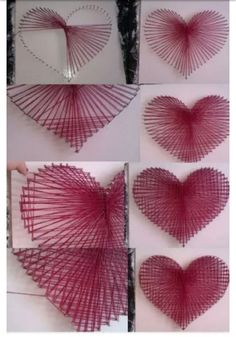 Spijker in een hout slaan en een touwtje erom binden - String Art Heart, String Wall Art, Nail String Art, String Art Templates, String Art Tutorials, String Art Patterns, Valentine Day Crafts, Valentine Decorations, Diy And Crafts