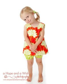 Image of Girls Reversible Top Pattern with Open Back - Pinafore Top Sewing Pattern PDF