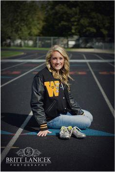 Senior Portrait / Photo / Picture Idea - Cross Country / Track - Girls - Cleats / Shoes - Varsity Jacket