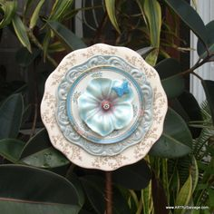 vintage creme white blue pink red button Glass Plate Flower repurpose floral butterfly daisy by ARTfulSalvage on Etsy https://www.etsy.com/listing/206660850/vintage-creme-white-blue-pink-red-button