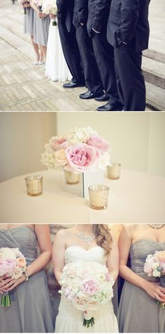 Navy Suits for Groom/Groomsman pale Lavender for bridesmaids and flowers in blush and nude