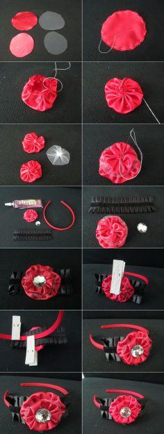 DIY Tutorial Hair Accessories / Fabric Yo-Yo Flower Headband with Decorative Fabric Ribbon - Bead&Cord
